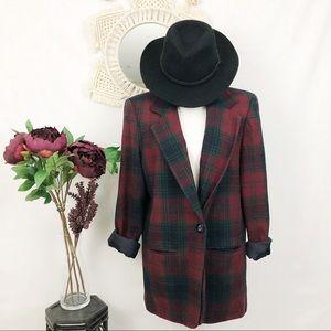 Vintage 90's plaid wool blazer 12